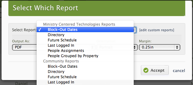 Choose the report you want.