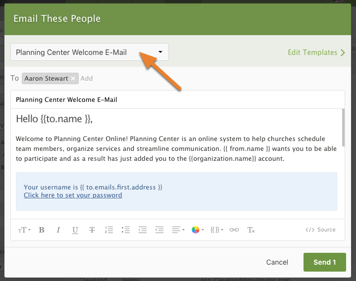 Welcome Emails – Planning Center Services