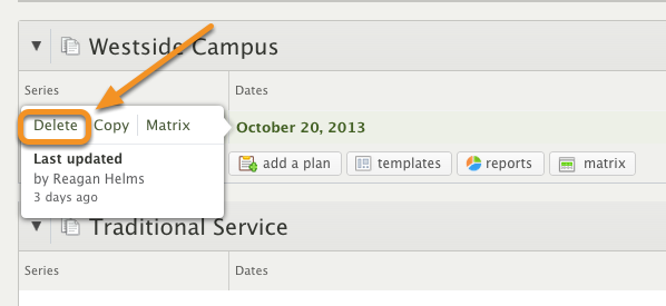 To delete a plan, hover over the plan date and click Delete.
