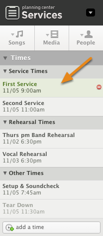 To edit a service time, click on the time