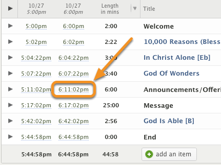 Choose which item and time you want to exclude, and click it