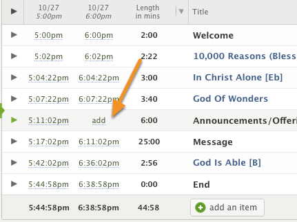 To add an item back to a service time, hover over the item and click on the 'add' link