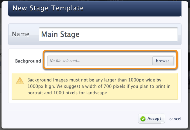 Import your stage layout picture.
