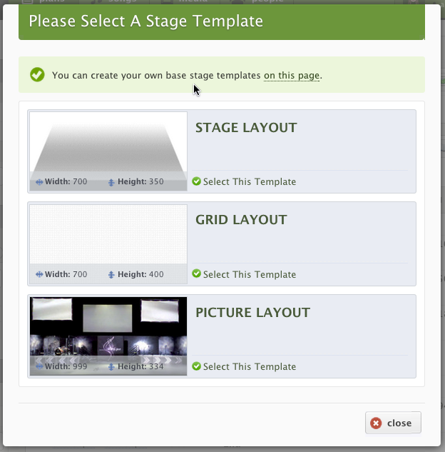 Choose which stage layout you'd like.