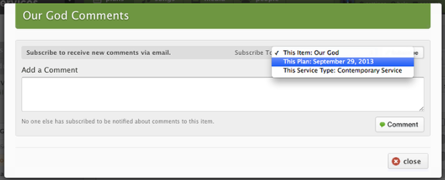Enter your comment in the text field, and then select what your subscription preference