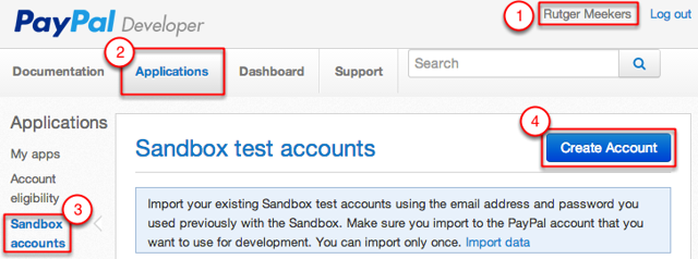 Paypal Sandbox accounts aanmaken