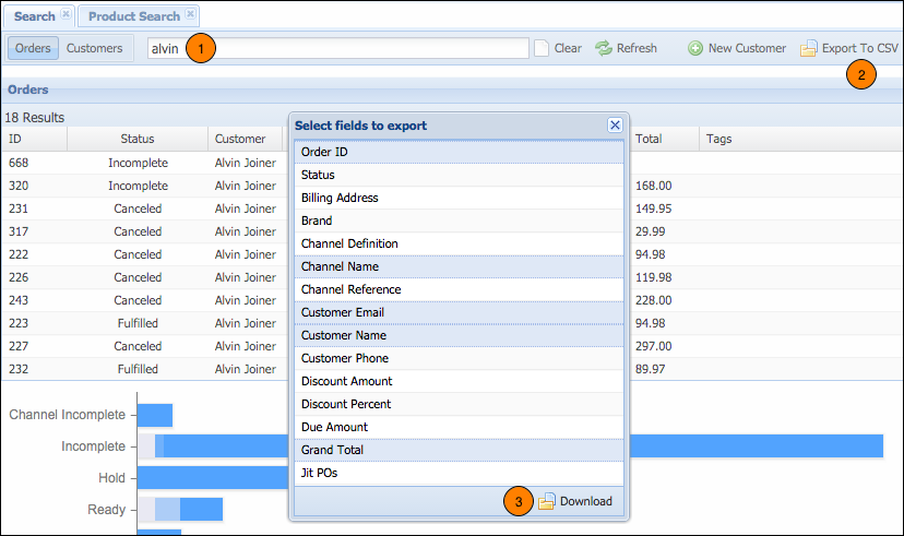 Create Reports from Customer Service Search