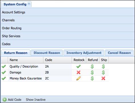 Add Return Reason Codes