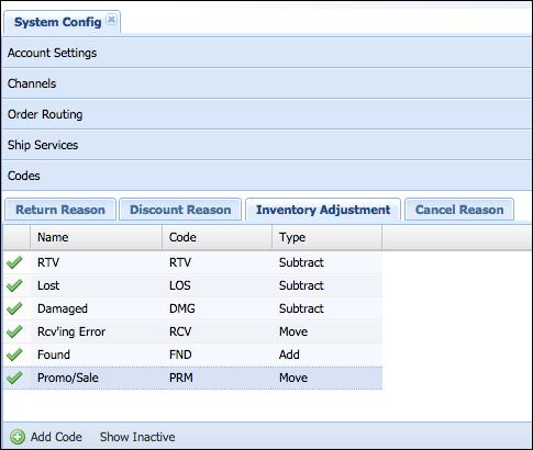 Add Inventory Adjustment Reason Codes