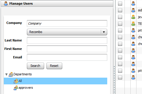 Manage Users section