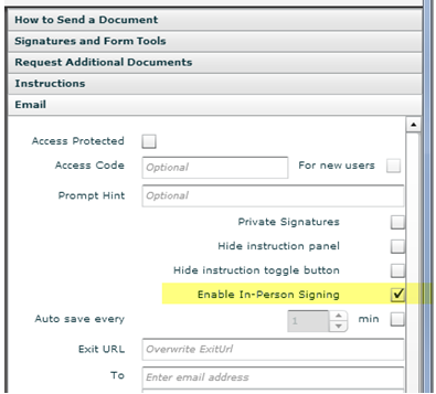 Enabling In-Person Signing