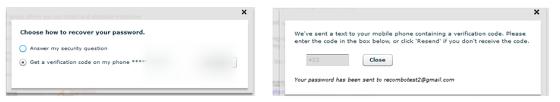 Telephone verification for password retrieval