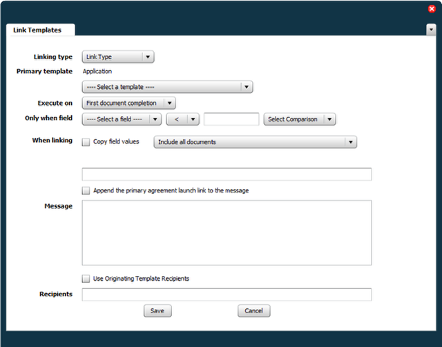 Opening the Linked Template Setup Panel