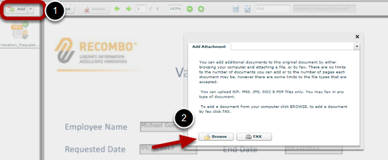 Adding Documents from the Add button