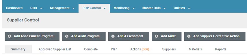"1. Select ""Add Assessment Program"" while in the Supplier Control Module"