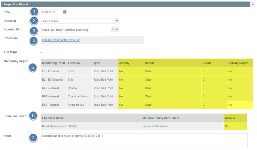 Enter Inspection Report Details