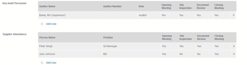 Define Audit Team Members and Supplier Audit Attendance