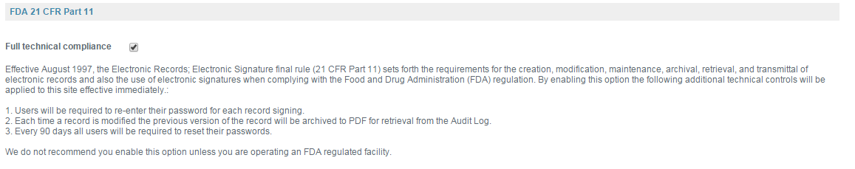 Manage FDA 21 CFR Part 11 Compliance