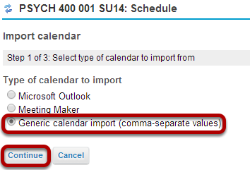 Choose the import file format.