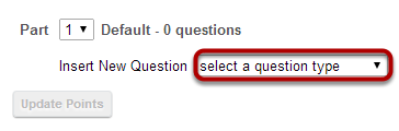 Select Fill in the Blank from drop-down menu.