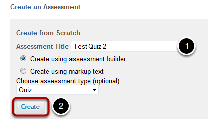 Create a New Assessment.