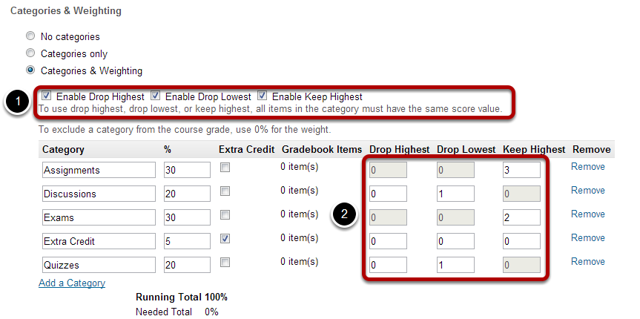 Enabling drop lowest and/or keep highest.