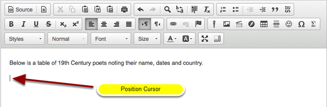 Position the cursor.
