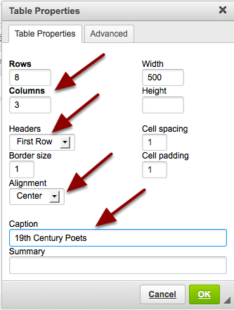 Set the number of Rows, Columns and any other table properties needed.