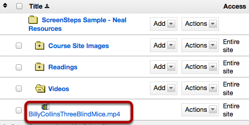 Upload your mp4 video file to a folder in Resources.