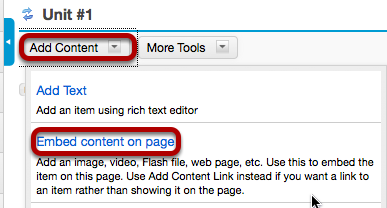 Linked image: Click Add Content, then Embed content on a page.