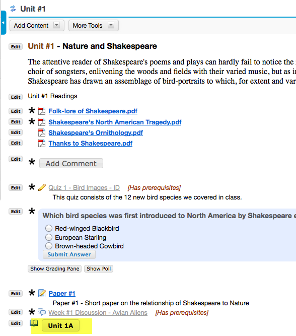 Example Unit 1 top-level Lessons page with button link to Unit 1A subpage