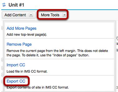 Click More Tools, then Export CC.