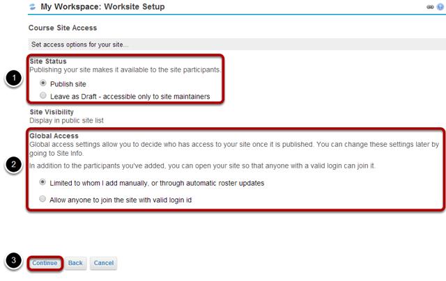 Configure site access.