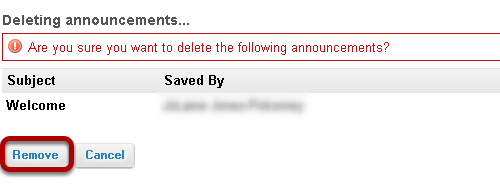 Confirm deletion message.