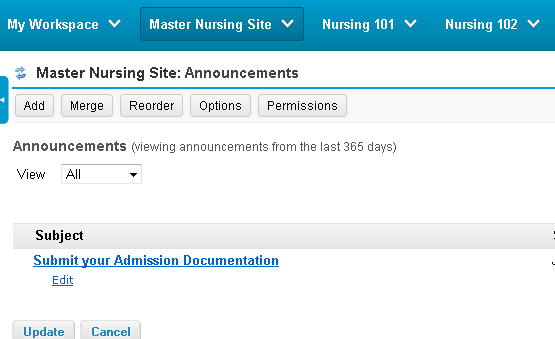 Example: Master Site Announcements