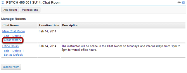 Click the Clear History link for the room you want to clear.