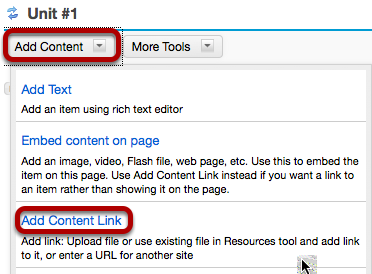 Click Add Content, then Add Content Link.
