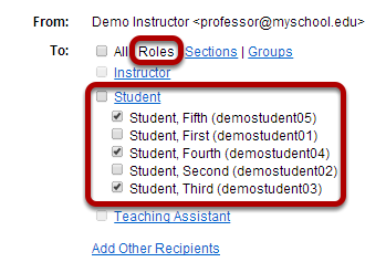 Choose recipients by role.