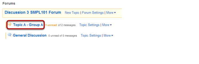 Choose a topic within a forum.