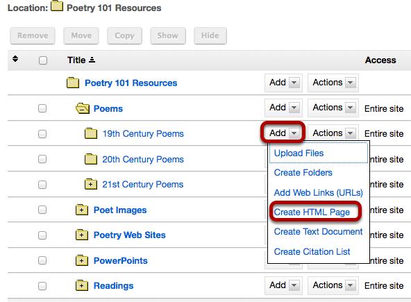 Click Add, then Create HTML.