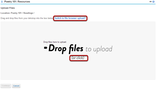 Or, click to use the file browser upload.