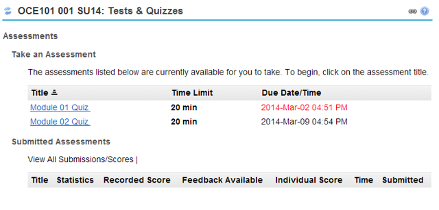 Tests & Quizzes tool landing page. (Student View)