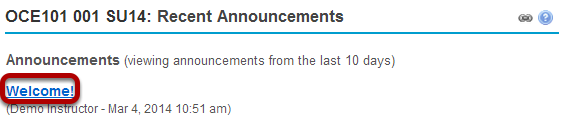 Click on the announcement subject.