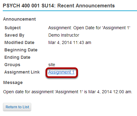 Or, click the direct link to the assignment from Announcements.