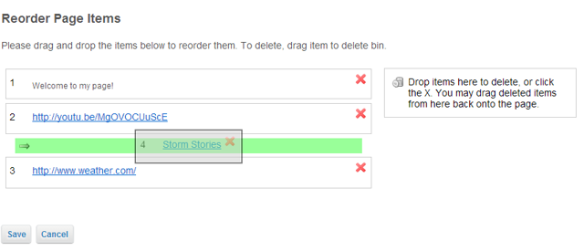 Drag and drop items to reorder or delete.