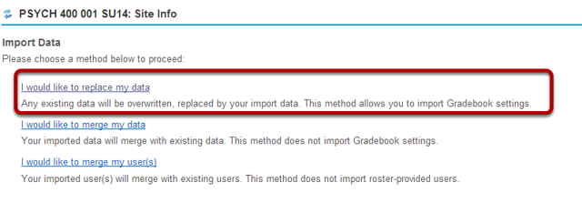 """Click the """"I would like to replace my data"""" link."""