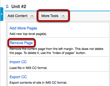 Click More Tools, then Remove Page.
