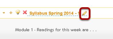 Edit the heading of a syllabus item.