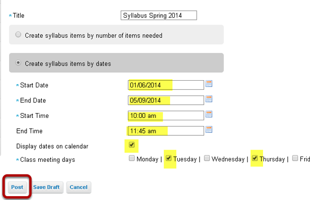 """Select """"Create syllabus items by dates""""."""