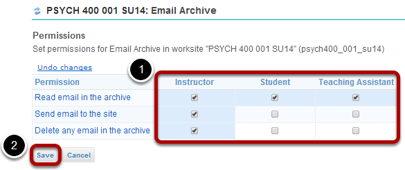 Modify the permissions for the roles listed.